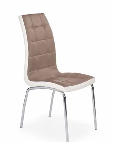 Halmar Jídelní židle K186, cappuccino-bílá