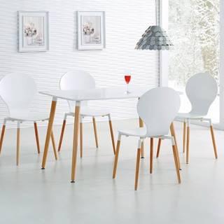 Halmar Jídelní stůl Socrates, obdélníkový, matný bílý/buk