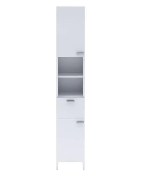 IDEA Nábytek Vysoká skříňka 2 dveře + 1 zásuvka KORAL bílá
