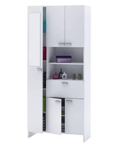 Vysoká skříňka 1+4 dveře + 1 zásuvka KORAL bílá
