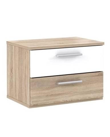 GOLDSTAR, noční stolek (2 kusy), dub sonoma/bílá