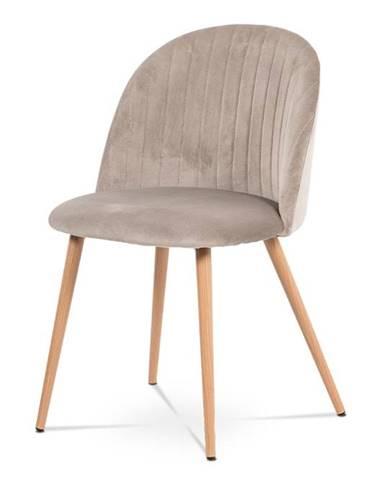 Jídelní židle CT-381 LAN4, lanýžová/dekor dubu