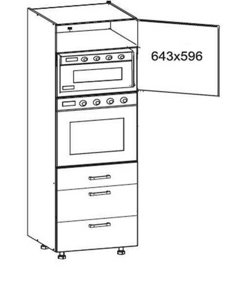 Smartshop SOLE vysoká skříň DPS60/207 SMARTBOX pravá, korpus šedá grenola, dvířka dub arlington