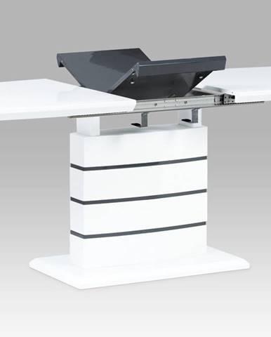 Jídelní stůl 140+40x80, vysoký lesk bílý/šedý HT-410 WT