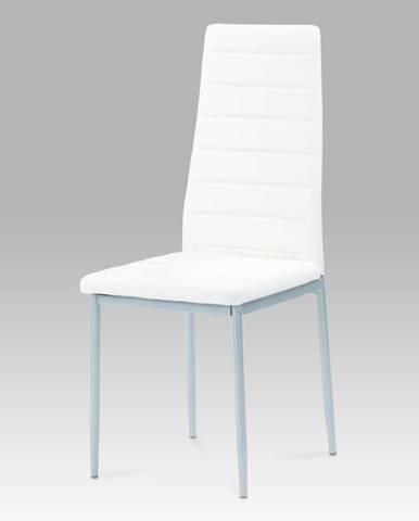 Jídelní židle DCL-117 WT, koženka bílá / šedý lak