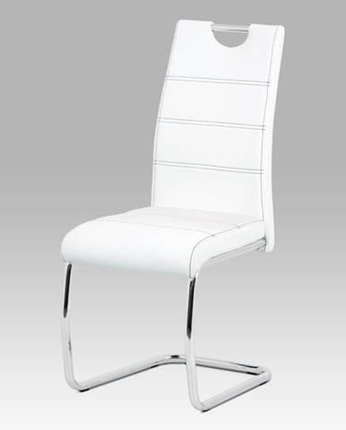 Jídelní židle HC-481 WT, bílá/chrom