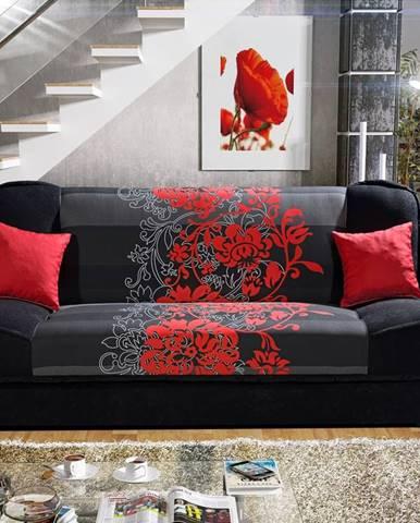 Pohovka KLAUDIA 1, látka květy červené