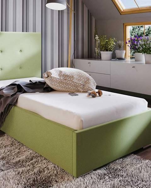 Smartshop Čalouněná postel SOFIE 1 90x200 cm, zelená látka