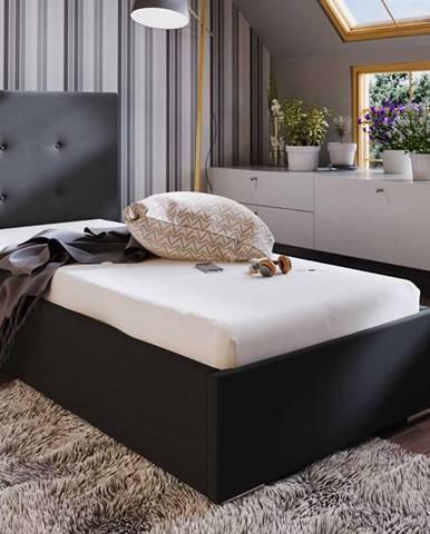 Čalouněná postel SOFIE 1 90x200 cm, černá látka