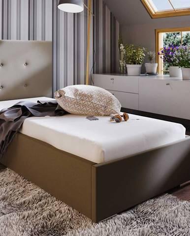 Čalouněná postel SOFIE 1 90x200 cm, hnědá látka