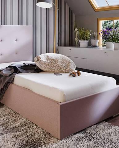 Čalouněná postel SOFIE 1 90x200 cm, růžová látka
