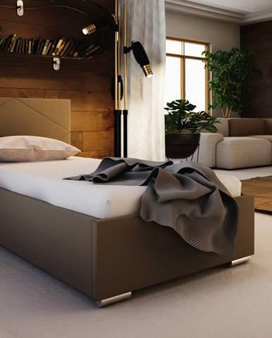 Čalouněná postel SOFIE 5 90x200 cm, hnědá látka