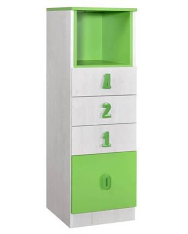 NUMERO komoda 4F NIKA, dub bílý / zelená