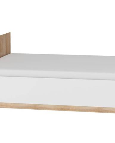 Postel 160x200 MAXIMUS 18, dub sonoma/bílý lesk