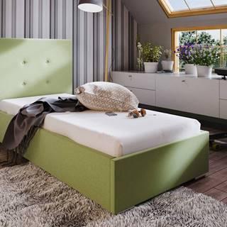 Čalouněná postel SOFIE 1 90x200 cm, zelená látka