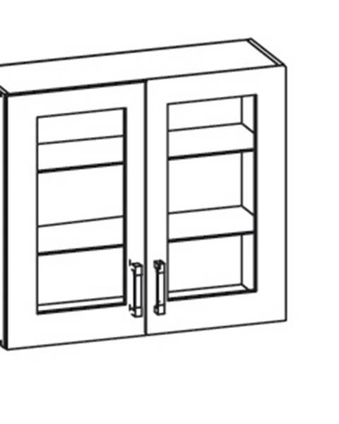 Smartshop EDAN horní skříňka G80/72 vitrína, korpus wenge, dvířka dub reveal