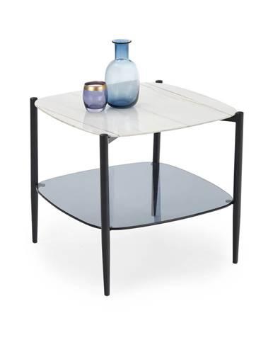 Konferenční stolek GEMINI, bílý mramor/černá