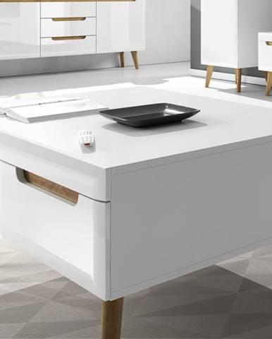 Konferenční stolek NORDI NL107, bílá/bílý lesk/dub riviera DOPRODEJ