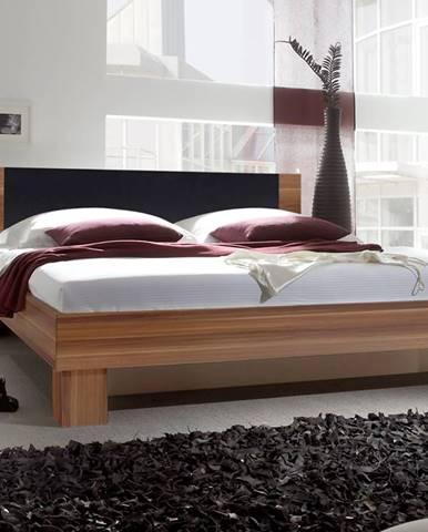 VERA postel 160x200 cm s nočními stolky, červený ořech/černá