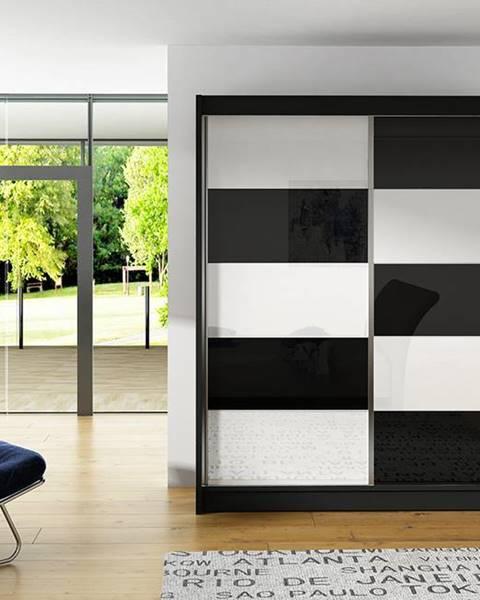 Smartshop Šatní skříň VITO II, černý mat/bílé sklo+černé sklo
