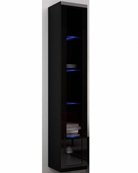 CAMA Závěsná prosklená vitrína VIGO 180 cm, černá/černý lesk