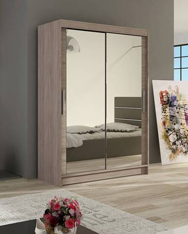 Šatní skříň MIAMII VII, trufla/zrcadlo