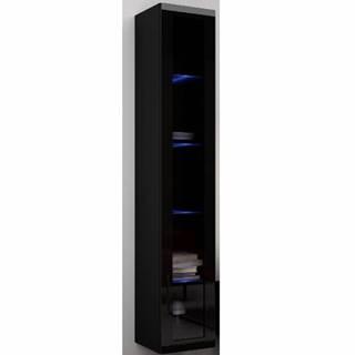 Závěsná prosklená vitrína VIGO 180 cm, černá/černý lesk