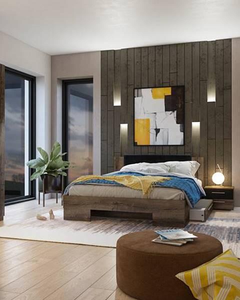 Smartshop VERA II postel 160x200 cm s nočními stolky, dub monastery/černá
