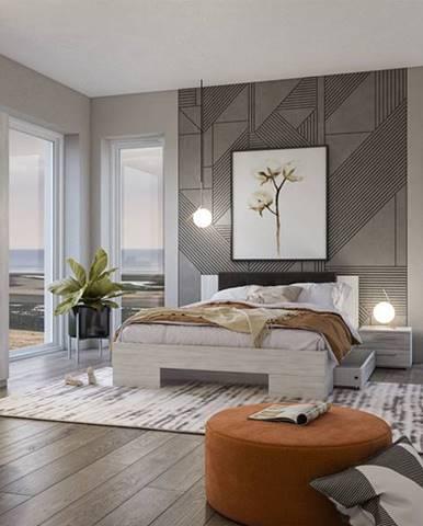 VERA II postel 160x200 cm s nočními stolky, borovice canyon světlá/borovice canyon tmavá