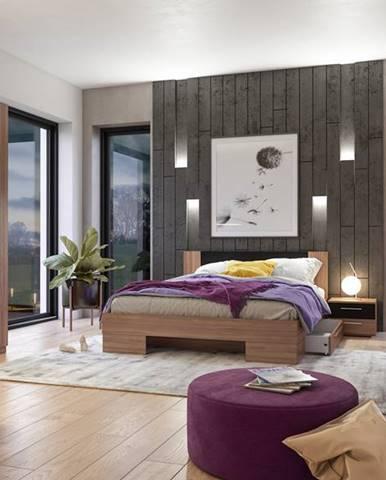 VERA II postel 160x200 cm s nočními stolky, červený ořech/černá