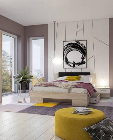 VERA II postel 160x200 cm s nočními stolky, dub sonoma/bílá