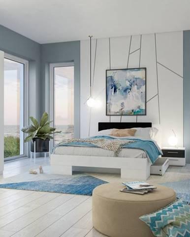 VERA II postel 180x200 cm s nočními stolky, bílá/ořech černý