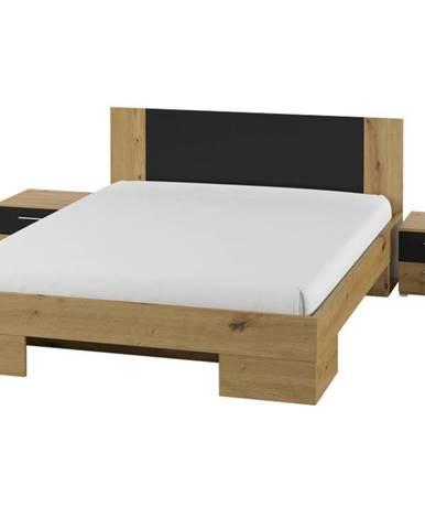 VERA postel 160x200 cm s nočními stolky, dub artisan/černá