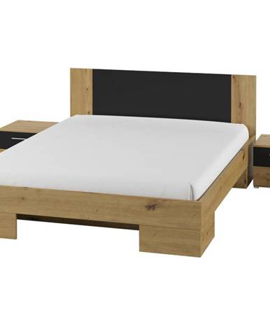 VERA postel 180x200 cm s nočními stolky, dub artisan/černá