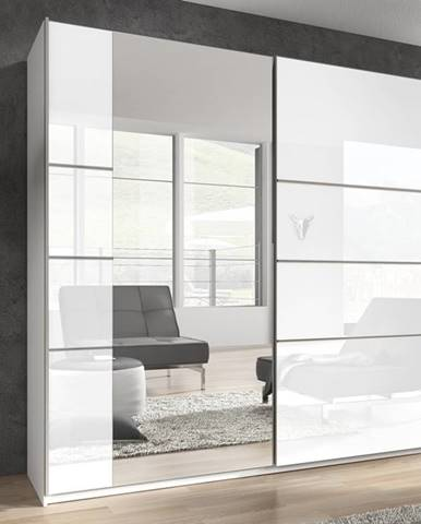 BETA šatní skříň se zrcadlem 180 TYP 56, bílá/bílý lesk
