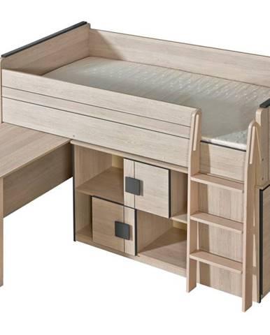GIMMI, patrová postel komplet G19, dub santana/šedá