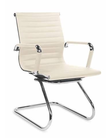 Jednací židle ADK Deluxe Skid, béžová ekokůže 112030