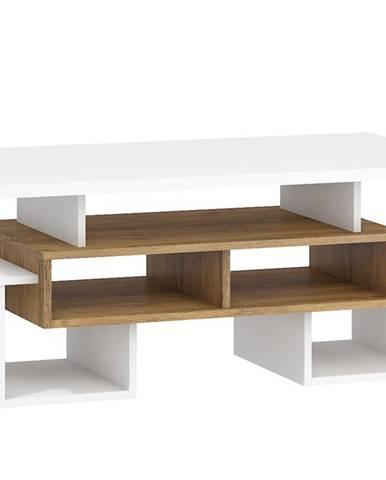 Konferenční stolek S RIO 12, dub burgundský/bílá