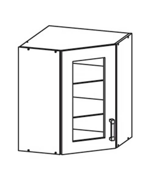 Smartshop EDAN horní skříňka GNWU vitrína - rohová, korpus šedá grenola, dvířka dub reveal