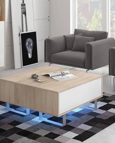 KING 8 konferenční stolek, dub sonoma/bílý lesk