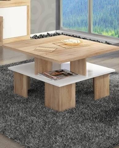 Konferenční stolek SUPRA 1, dub sonoma/bílý lesk