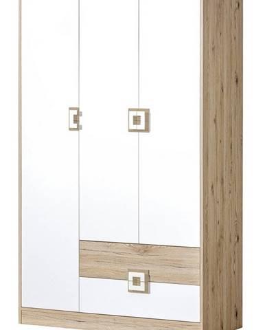 Šatní skříň 3-dveřová NIKO 3, dub jasný/bílá