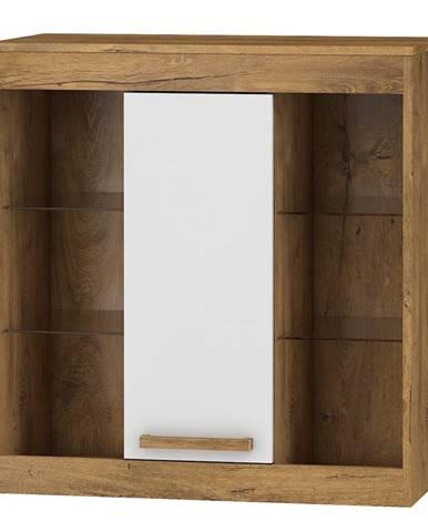 Závěsná skříňka 1D MAXIM 40, dub burgundský/bílý lesk
