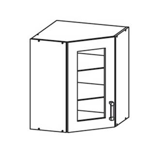 EDAN horní skříňka GNWU vitrína - rohová, korpus šedá grenola, dvířka dub reveal