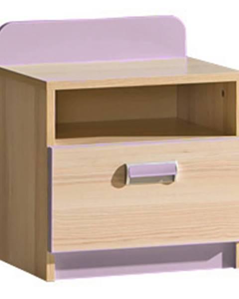 Dolmar LORENTO, noční stolek L12, jasan/fialová