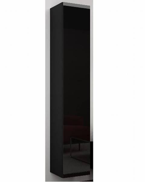 CAMA Závěsná vitrína VIGO 180 cm - plná dvířka, černá/černý lesk