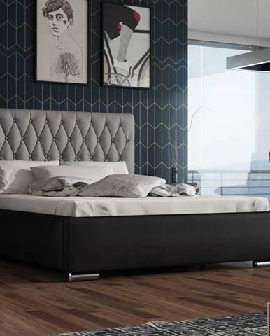 Čalouněná postel TOKIO 130x200 cm s roštem a matrací, šedá látka/černá ekokůže