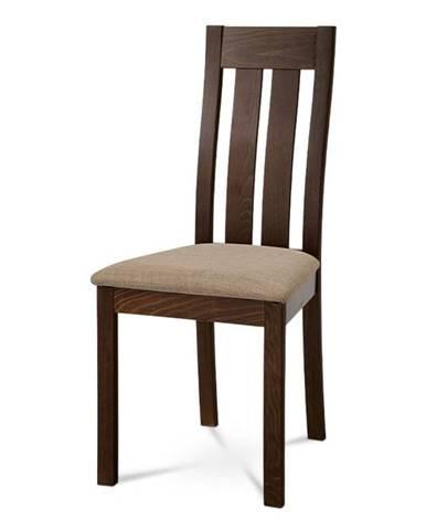 Dřevěná židle BC-2602 WAL, ořech/potah béžový