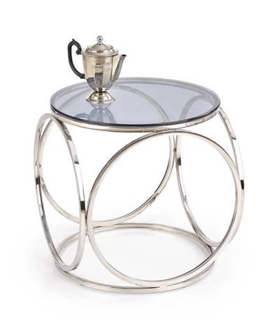 Konferenční stolek VENUS S, kouřové sklo/stříbrná