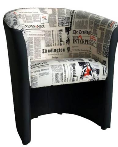 Křeslo CUBA, látka potisk noviny/černá ekokůže